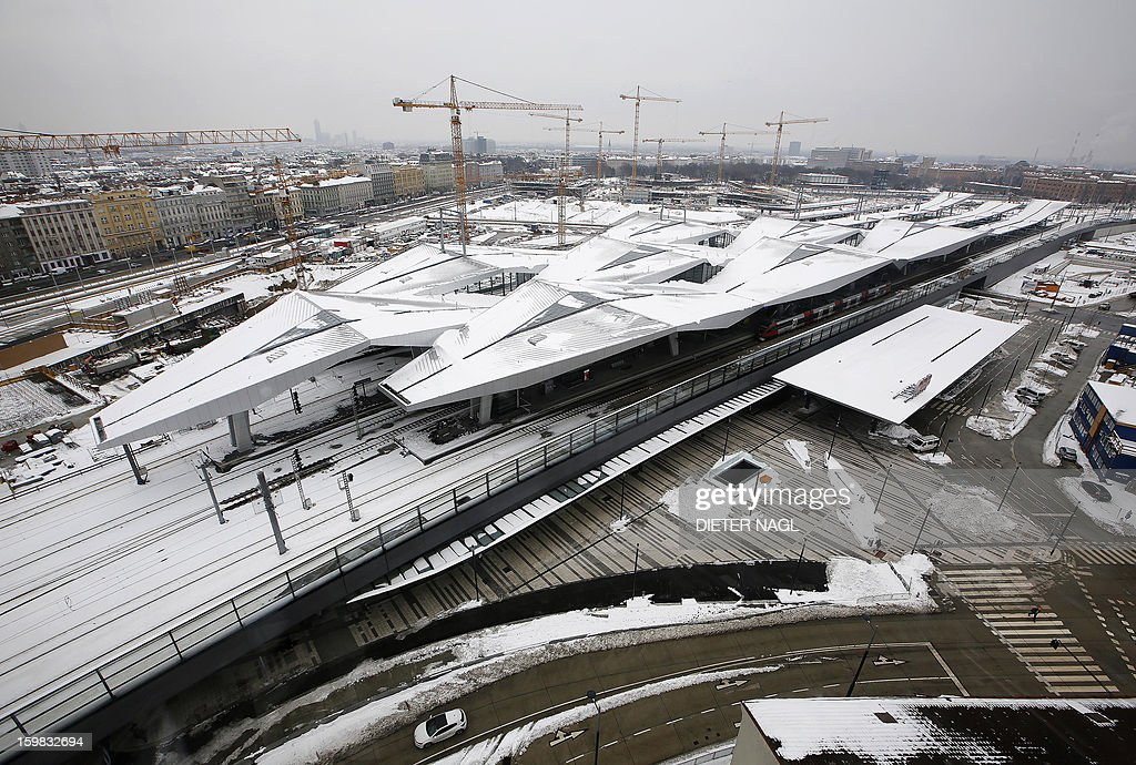 A panoramic view of the new Vienna central railway station shows snow covered the tracks on January 21, 2013 in Vienna, Austria.