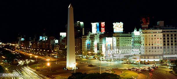 A panoramic view of the obelisk in Plaza de la Republica, Buenos Aires, Argentina