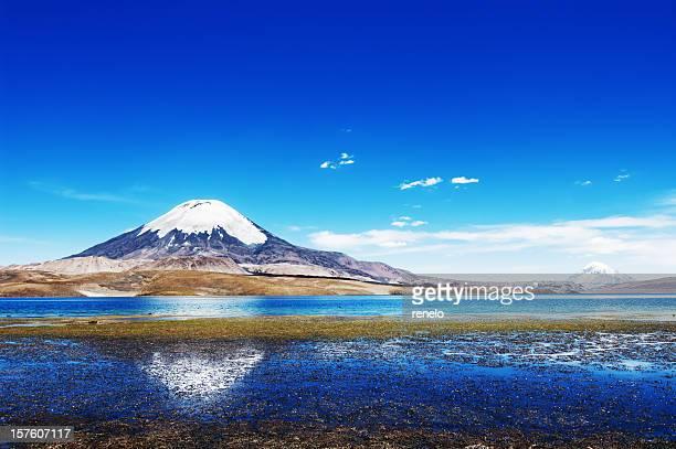 Panoramic view of the Parinacota volcano