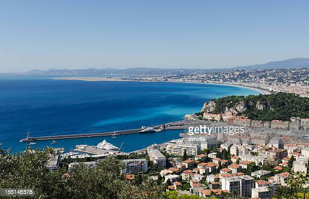 Panoramic view of the Port and Beach of Nice, France