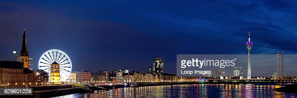 Panoramic view of the promenade from the Old Town to the TV tower in Dusseldorf Dusseldorf Germany