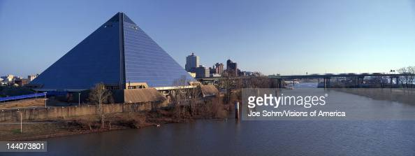 Panoramic view of the Pyramid Sports Arena in Memphis TN with statue of Ramses at entrance