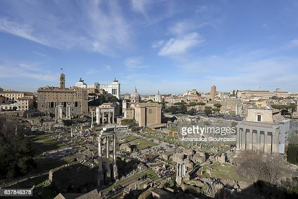 Panoramic view of the Roman Forum from Palatine Hill on December 31 2016 in Rome Italy The Roman Forum is a rectangular forum surrounded by the ruins...