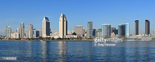 Panoramic view of the San Diego skyline from the water