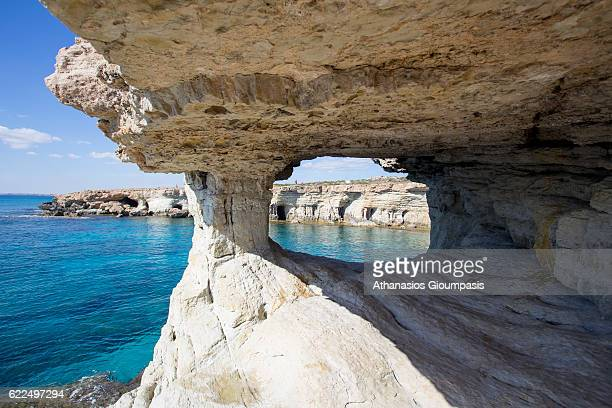 Panoramic view of the Sea Caves in Ayia Napa on November 03 2016 in Ayia Napa Cyprus