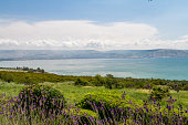 Panoramic view of the sea of Galilee the kinneret lake from the Mount of Beatitudes, Israel
