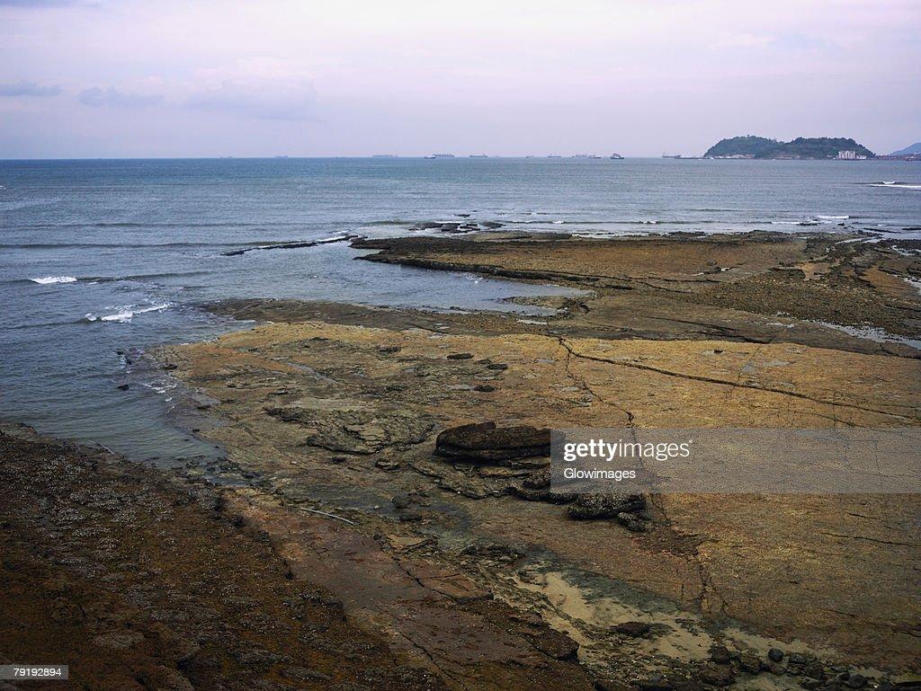 Panoramic view of the sea, Old Panama, Panama City, Panama : Foto de stock
