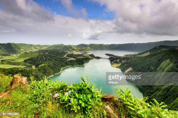 Panoramic view of the Sete Cidades Lagoon no Açores.