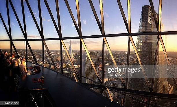 A panoramic view of The Shard 20 Fenchurch Street also known as the Walkie Talkie and The Leadenhall Building also known as the Cheesegrater seen...