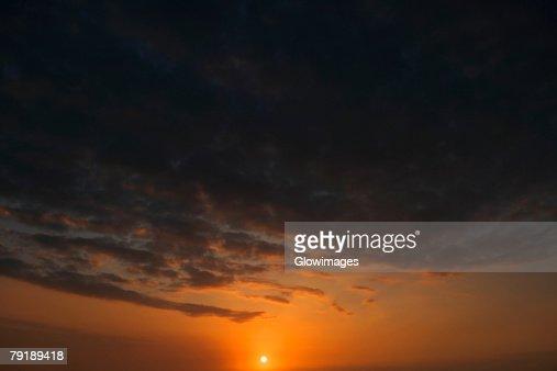 Panoramic view of the sunset, Pakini Nui Wind Project, South Point, Big Island, Hawaii Islands, USA : Stock Photo