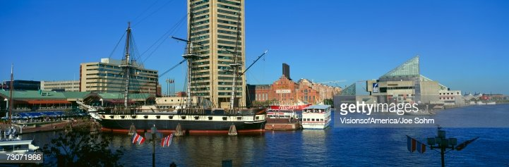 'Panoramic view of the USS Constitution in Inner Harbor, Baltimore, MD' : Stock Photo