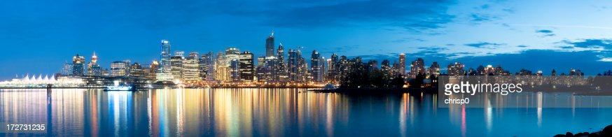 Panoramic View of the Vancouver Skyline at Dusk (XXXL)
