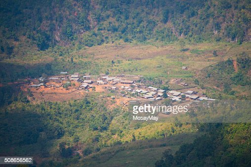 Panoramic view of the village of northern Thailand : Stock Photo