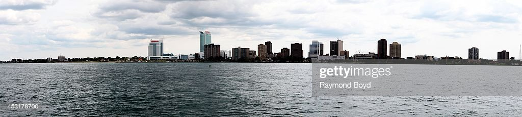 Panoramic view of the Windsor, Canada skyline as photographed from the Detroit Riverwalk on July 18, 2014 in Detroit, Michigan.