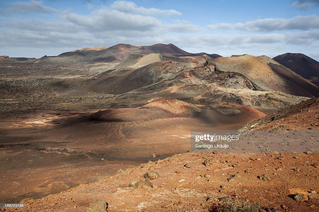 Panoramic view of Timanfaya National Park : Stock Photo