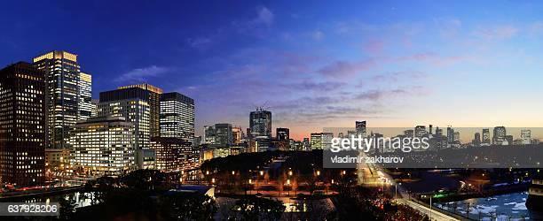Panoramic view of Tokyo at sunset