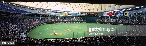 Panoramic view of Tokyo Dome from the lower level first base line during a baseball game in 2004 in Tokyo Japan