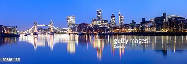 Panoramic View of Tower Bridge and the London City Skyline