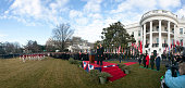 A panoramic view of US President Barack Obama and Chinese President Hu Jintao at an official south lawn arrival ceremony for Hu at the White House in...