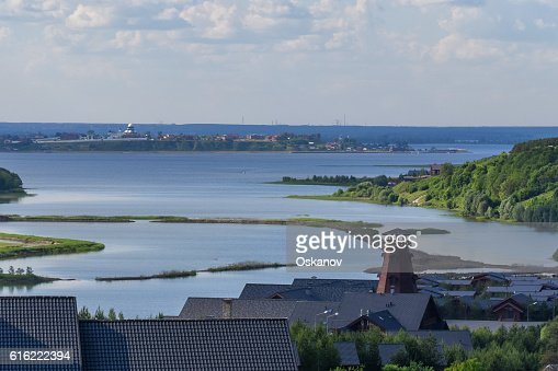 Panoramic view of Volga : Stock Photo