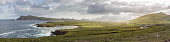 Panoramic View of the western coast of Dingle Peninsula, Ireland. The early
