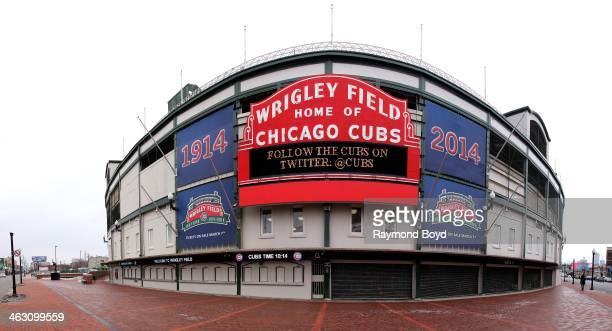 Panoramic view of Wrigley Field home of the Chicago Cubs baseball team who is celebrating 100 Years in baseball in Chicago Illinois on JANUARY 16 2014