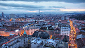 Panoramic view of Zagreb at dusk