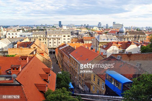 Panoramic view of Zagreb with a funicular, Croatia