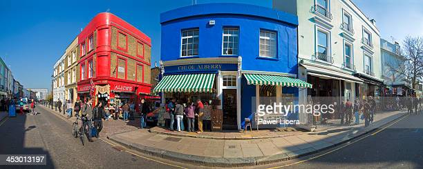 Panoramic view on antique shops in Portobello Road