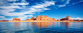 panoramic view on famous lake Powell, Page, USA