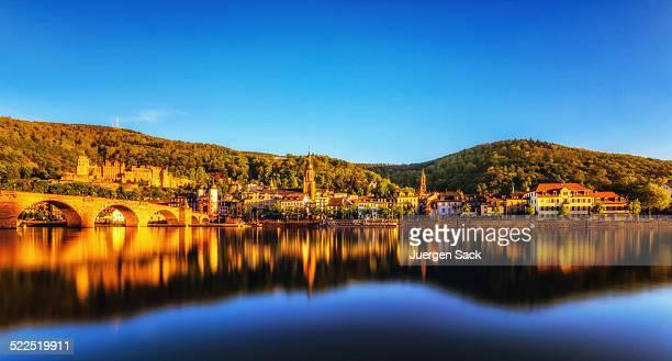 Blick auf Heidelberg bei Sonnenuntergang