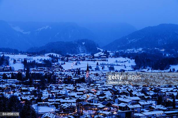 panoramic view on oberstdorf in winter in bavaria