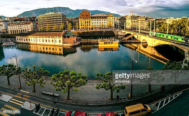 Blick auf die Rhône und Genf