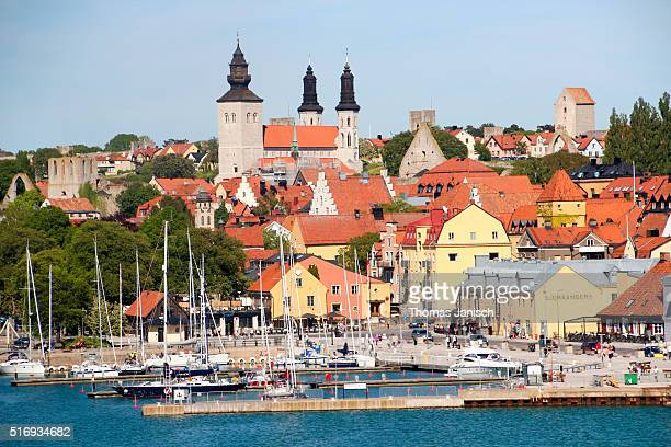 Panoramic view on skyline, St. Mary's Cathedral and harbor of Visby, Gotland, Sweden