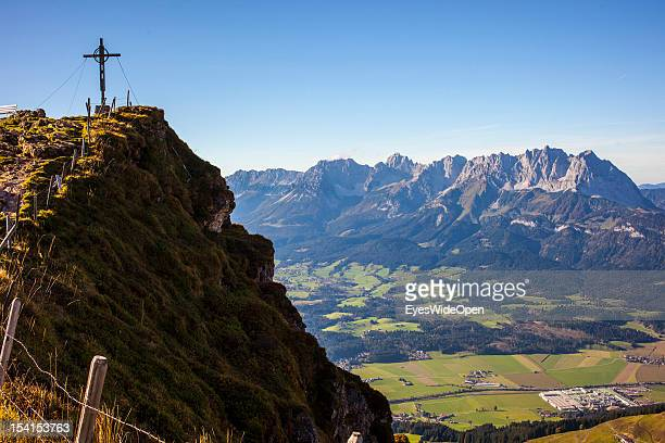 Panoramic view on the way down from the summit of the Kitzbuehler Horn in the mountains and landscape of Wilder Kaiser in the tyrolean alps on...