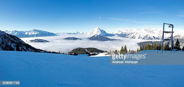 Panoramic view over a ski and snowboard resort