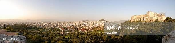 XXL vue panoramique sur la ville d'Athènes et de l'Acropole et l'Agora d'Athènes