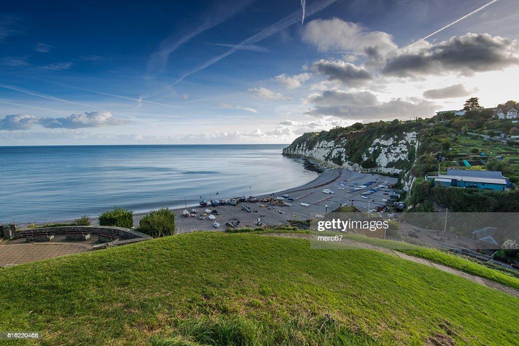 Panoramic view over Beer village in Devon,UK : Stock-Foto
