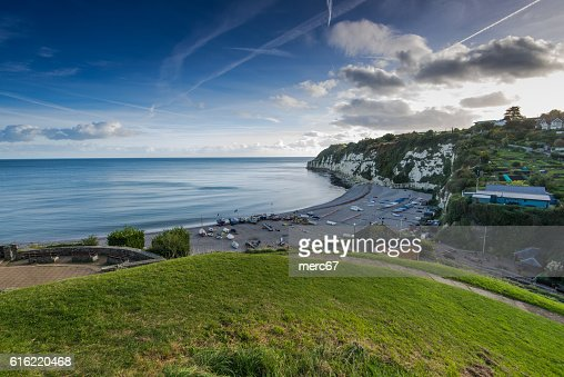 Panoramic view over Beer village in Devon,UK : Foto stock
