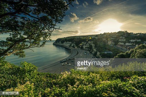 Panoramic view over Beer village in Devon,UK : Stock Photo
