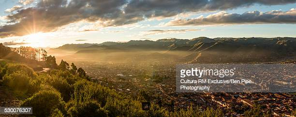 Panoramic view over Cusco from Sacsayhuaman, Peru, South America