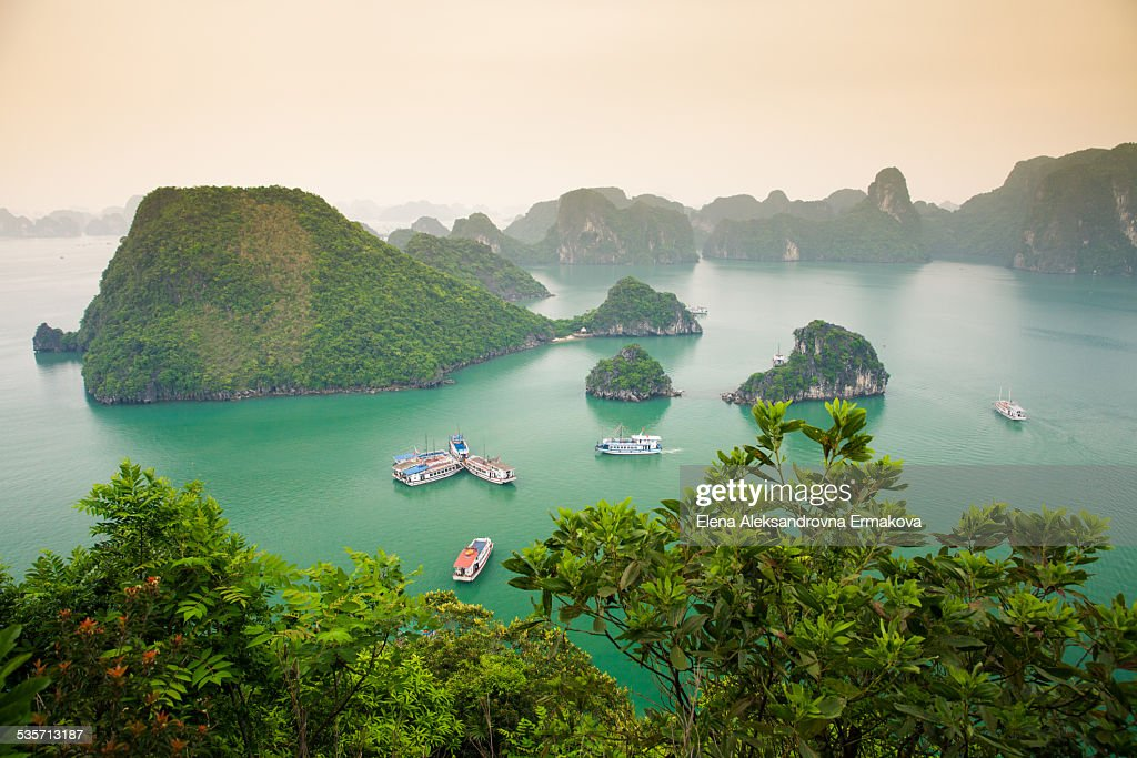 Panoramic view over Halong Bay
