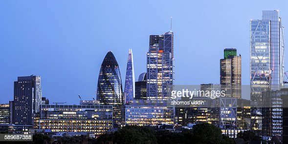 Panoramic view over London city at dusk