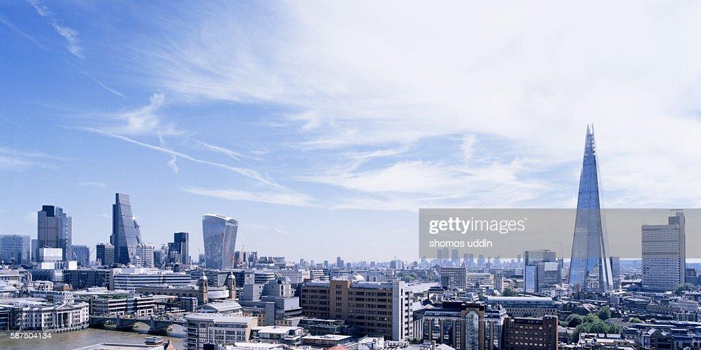 Panoramic view over London city skyline
