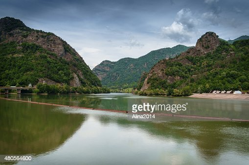 Panoramic View over the River, Mountain and Sky : Stock Photo