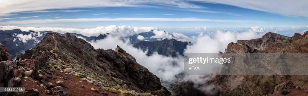 Panoramic view Roque de los Muchacos, La Palma, Spain : Stock Photo