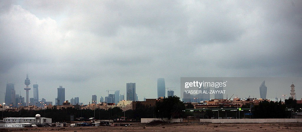 A panoramic view shows Kuwait city's skyline on a rainy day on November 26, 2012. The tiny Gulf emirate is getting ready for the December 1 controversial parliamentary election with the Kuwaiti opposition planning a major protest on the eve of the vote as a finale to its nationwide campaign to urge a boycott of the disputed polls.