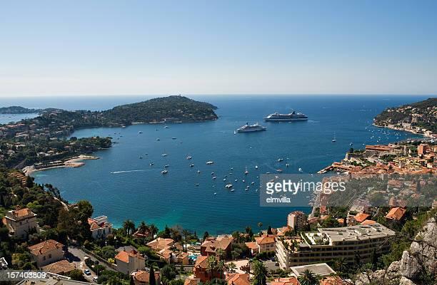Vue panoramique sur la baie de Villefranche sur la Côte d'Azur