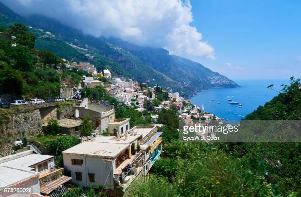 Panoramic View to a small City on a Mountain and the Cliffs of the Amalfi Coast on June 20 2015 in Naples Italy