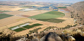 A panoramic view to Harod valley, agricultural fields and fish farming